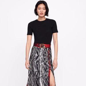 ZARA Animal Print Panel Pleated Skirt with Belt